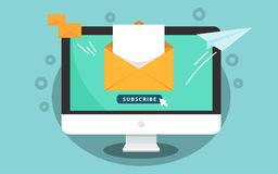 Subscribe for newsletter concept. Subscribe button with cursor on the computer screen. Open message with document. Paper. Airplane icon. Vector illustration Royalty Free Illustration