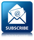 Subscribe (newsletter email icon) blue square button Stock Photography