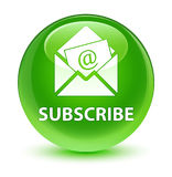 Subscribe (newsletter email icon) glassy green round button Royalty Free Stock Photography