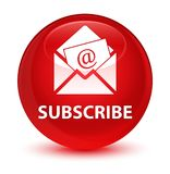 Subscribe (newsletter email icon) glassy red round button Stock Photo