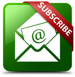 Subscribe newsletter email icon green square button. Reflecting shadow with red ribbon in corner Royalty Free Stock Images