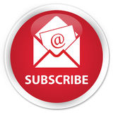 Subscribe (newsletter email icon) premium red round button Stock Image