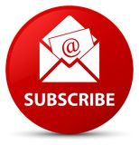 Subscribe (newsletter email icon) red round button Stock Photo