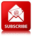 Subscribe (newsletter email icon) red square button Royalty Free Stock Photos