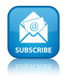 Subscribe (newsletter email icon) special cyan blue square butto Stock Image