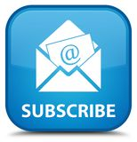 Subscribe (newsletter email icon) special cyan blue square butto Royalty Free Stock Photo