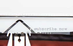 Subscribe now. Typwriter showing the term subscribe now Royalty Free Stock Image
