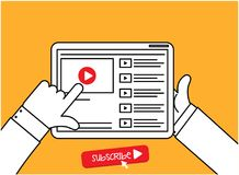 Subscribe Online Videos and Channel Info-Graphic Vector. Illustration Royalty Free Stock Image