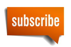 Subscribe orange speech bubble Royalty Free Stock Photography