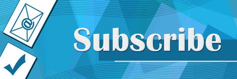 Subscribe Random Shapes Blue Background Royalty Free Stock Photography