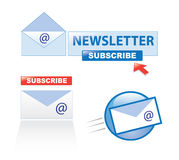 Subscribe to newsletter. A variety of subscribe to newsletter elements for website templates. Eps file available Stock Photos