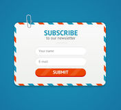Subscribe to Newsletter Form. Vector. Subscribe to Newsletter Form Postage Envelope Retro Style Design on a Blue. Vector illustration Royalty Free Stock Photos