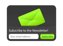 Subscribe to newsletter website element. With green envelope Royalty Free Stock Images