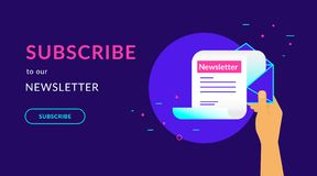 Subscribe to our weekly newsletter flat vector neon illustration. Subscribe to our newsletter flat vector neon illustration for web banner with text and button royalty free illustration