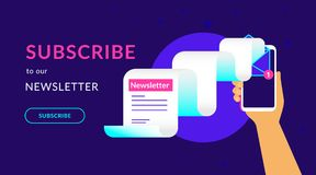 Subscribe to our weekly newsletter flat vector neon illustration for ui ux web design. With text and button. Human hand holds smartphone with newsletter flying vector illustration