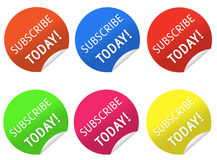 Subscribe today stickers Royalty Free Stock Image