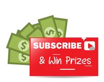 Subscribe and Win Prizes Vector Graphic Banner Royalty Free Stock Image