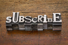 Subscribe word  in metal type Royalty Free Stock Photos