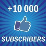 100000 subscribers, followers, media. + 100000 subscribers, followers, media . Vector Illustration Royalty Free Stock Photography