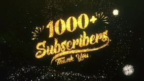 1000+ Subscribers Text Greeting Wishes Sparklers Particles Night Sky Firework