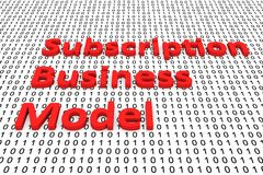 Subscription business model. In the form of binary code, 3D illustration Stock Photos