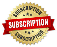 Subscription 3d gold badge. With red ribbon Stock Images
