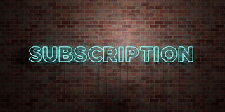 SUBSCRIPTION - fluorescent Neon tube Sign on brickwork - Front view - 3D rendered royalty free stock picture Stock Photo