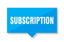 Subscription price tag. Subscription blue square price tag Stock Photos