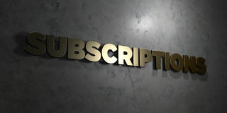 Subscriptions - Gold text on black background - 3D rendered royalty free stock picture Royalty Free Stock Photos