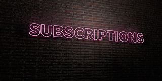 SUBSCRIPTIONS -Realistic Neon Sign on Brick Wall background - 3D rendered royalty free stock image Stock Photos