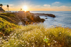 Sunset at La Jolla cove coastline Stock Photos