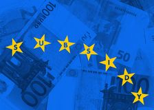 Subsidies, grants and financial support from European Union. Subsidies, grans and financial support from European Union. Yellow stars and blue banknotes Stock Image