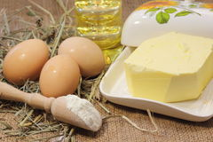 Subsistence agriculture products. Homemade butter. bokeh. soft focus Stock Photo