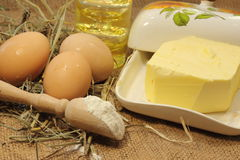 Subsistence agriculture products. Homemade butter. bokeh. soft focus Stock Images