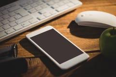 Substance électronique avec l'agrafeuse et la pomme verte Photos libres de droits