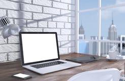 substance de travail de laptopand de l'illustration 3D sur la table près Photographie stock libre de droits