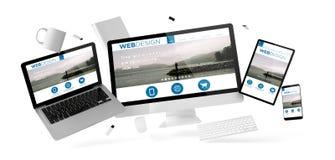 substance et dispositifs de bureau flottant avec le site Web de web design Photos libres de droits