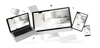 substance et dispositifs de bureau flottant avec le site Web grand d'hôtel illustration stock