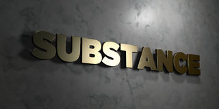 Substance - Gold sign mounted on glossy marble wall - 3D rendered royalty free stock illustration. This image can be used for an online website banner ad or a stock illustration