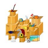 Substance isométrique plate de boîte en carton illustration stock