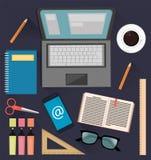 Substance pour l'étude et les affaires Choses utiles pour des étudiants, des employés de bureau et des hommes d'affaires illustration de vecteur