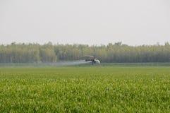 Substances de pulvérisation d'hélicoptère au-dessus de zone verte image libre de droits