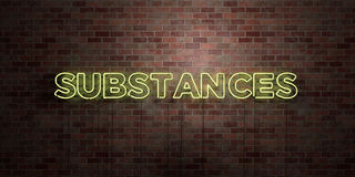 SUBSTANCES - fluorescent Neon tube Sign on brickwork - Front view - 3D rendered royalty free stock picture Stock Photos