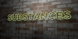 SUBSTANCES - Glowing Neon Sign on stonework wall - 3D rendered royalty free stock illustration Royalty Free Stock Image