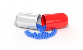 Substances in pill on the white, 3d render Royalty Free Stock Images