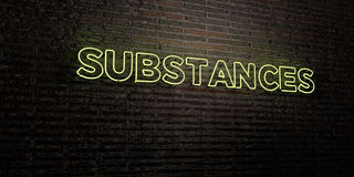 SUBSTANCES -Realistic Neon Sign on Brick Wall background - 3D rendered royalty free stock image Royalty Free Stock Photo