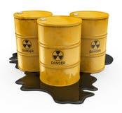 Substancja chemiczna odpady w żółtych baryłkach ilustracji