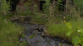 Substancja toksyczna nafciani materiały plenerowi i zaniechany przemysłowy budynek w naturze zdjęcie wideo