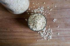 Substantial breakfast ingredient natural rolled oats stock image