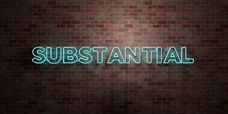 SUBSTANTIAL - fluorescent Neon tube Sign on brickwork - Front view - 3D rendered royalty free stock picture Stock Photos